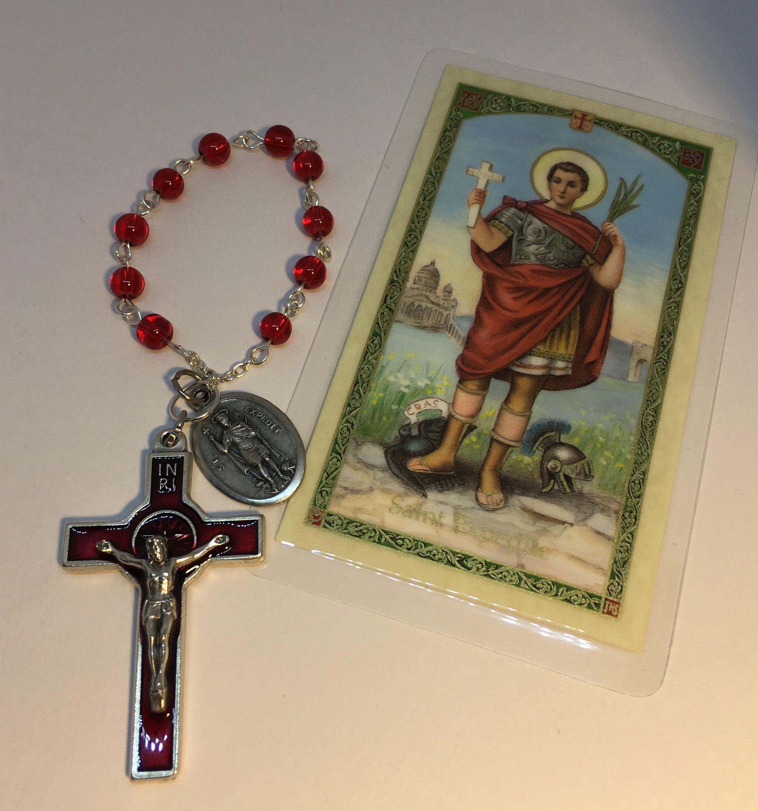Lucky 13 Clover | Saint Expedite Chaplet Charm with Prayer Card